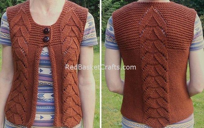 Women's Vest Knitting Pattern by Red Basket Crafts