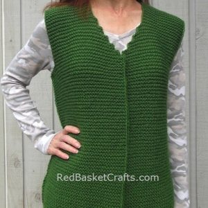 Garter Stitch Vest Easy Knitting Pattern by Red Basket Crafts