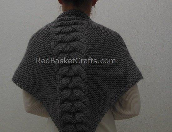 Grey Braided Stitch Shawl