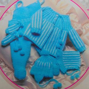 Blue Baby Set Knitting Pattern
