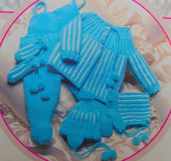 Blue Baby Set Knitting Pattern