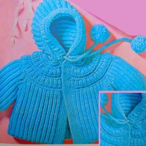 Hooded Jacket for Baby Worsted Yarn - Size 6 Months, 1 and 2 Years - Knitting Pattern