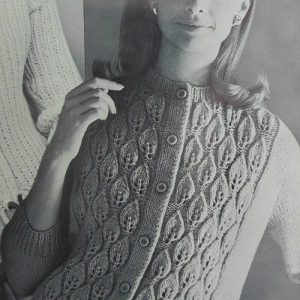 Long-Sleeved Vintage Cardigan Leaf Stitch Free Pattern