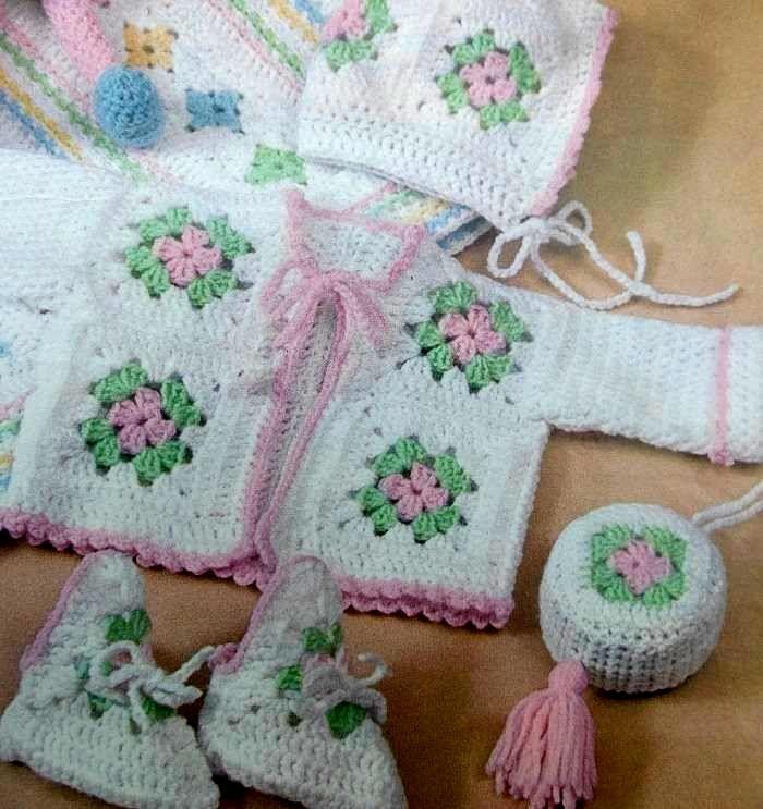 Crochet Pattern Baby Sweater Hat Booties