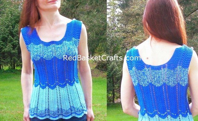 Blue Ripple Chevron Top Design by Red Basket Crafts