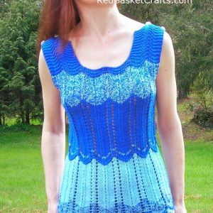 Blue Ripple Chevron Top Knitting Pattern ~