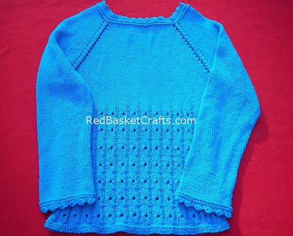 Top-Down Summer Pullover Worked In the Round Knitting Pattern 3 Ply DK Cotton Yarn