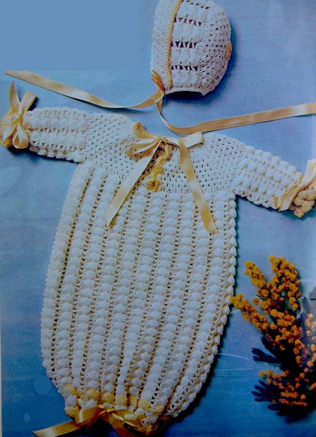 Baby Dress Bunting Hat Vintage Crochet Pattern