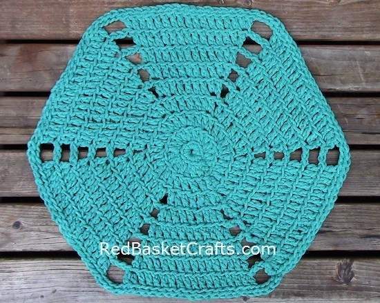 Hexagon Rug Crochet Pattern by Red Basket Crafts