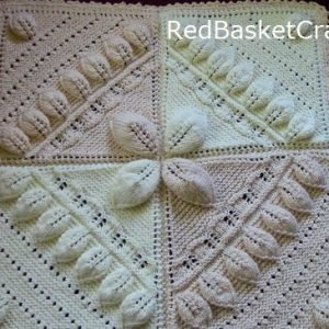 Leaf Stitch Blanket Knitting Pattern Red Basket Crafts ~