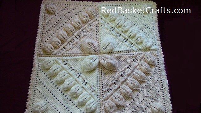 Leaf Stitch Blanket Knitting Pattern Red Basket Crafts