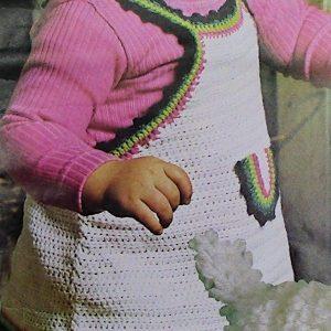 Baby Bib Dress Size 1 and 2 - Jumper Baby Fingering Yarn - Crochet Pattern