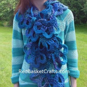 Crochet Curly Scarf Pattern by Red Basket Crafts