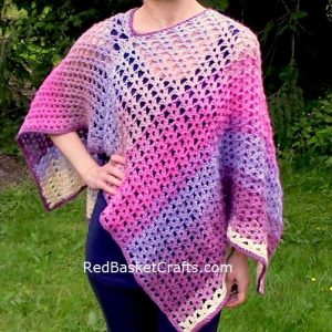 Crocheted Poncho Pattern by Red Basket Crafts