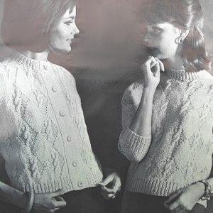 Cardi Pullover Vintage Knitting Pattern