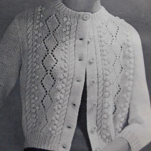 Knit Cardi Cables Lace Popcorn Stitches