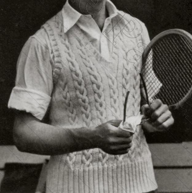 Men's Cable Stitch Vest Knitting Pattern