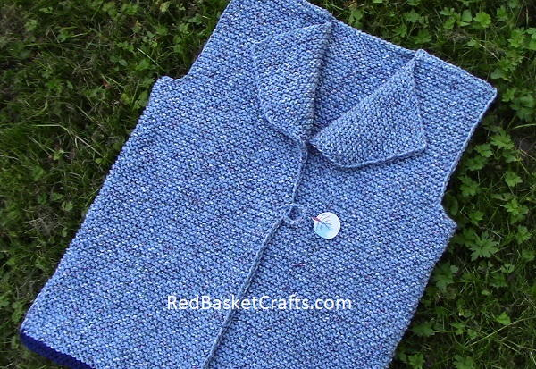 Country Vest Knitting Pattern Beginner by Red Basket Crafts