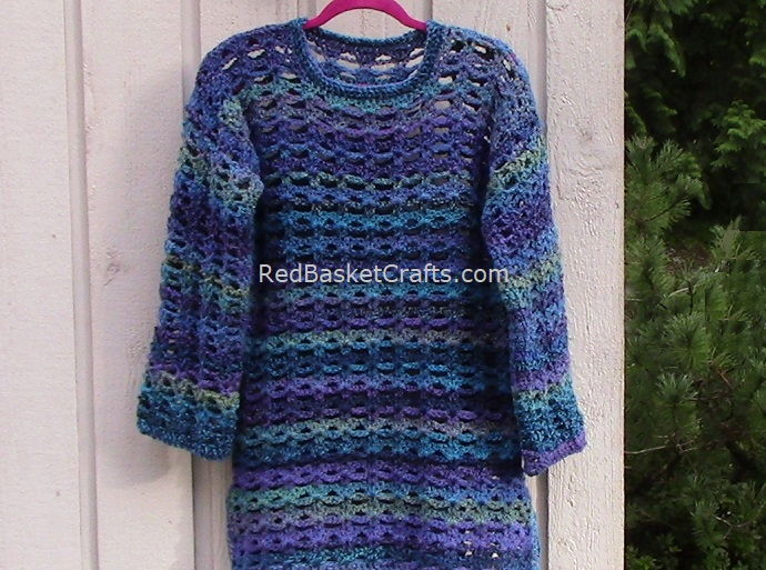 Breezy Long Sweater Pattern by Red Basket Crafts