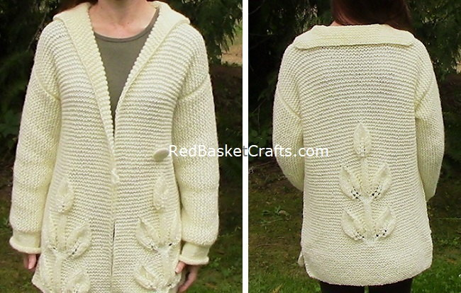Leaf Cardigan Knitted Front Back