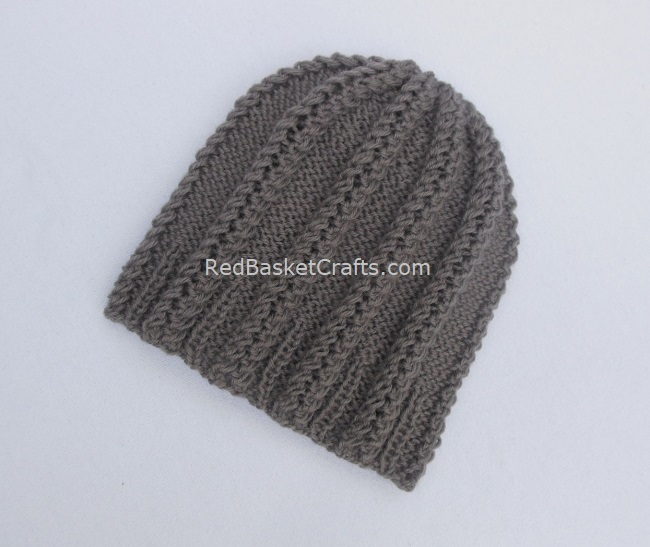 Double Twist Beanie Hat Knitting Pattern by Red Basket Crafts