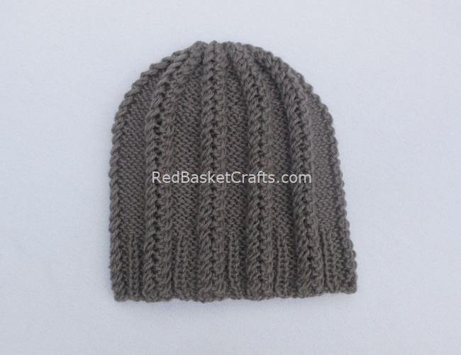 Double Twist Beanie Knitting Pattern by Red Basket Crafts