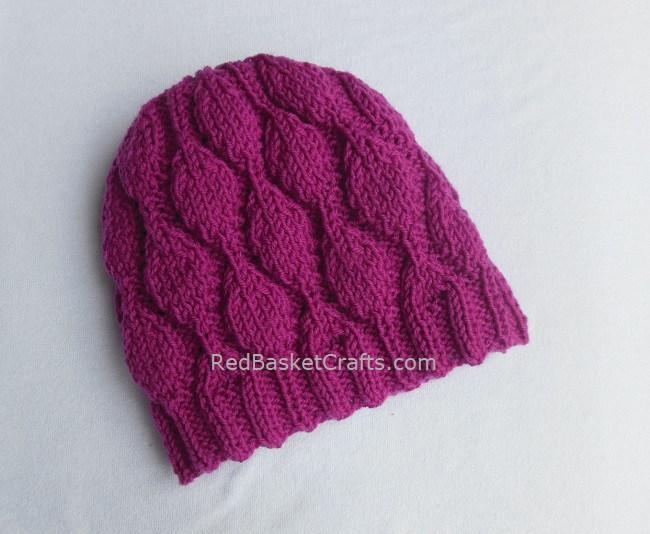 Leaf Stitch Beanie Knitting Pattern by Red Basket Crafts