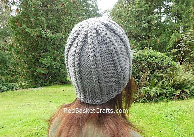 Twist Beanie Knitting Pattern by Red Basket Crafts
