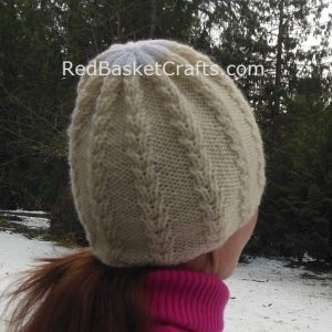 Snow Crystal Beanie Knitting Pattern by Red Basket Crafts