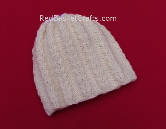 Snow Crystal Hat Beanie Knitting Pattern by Red Basket Crafts