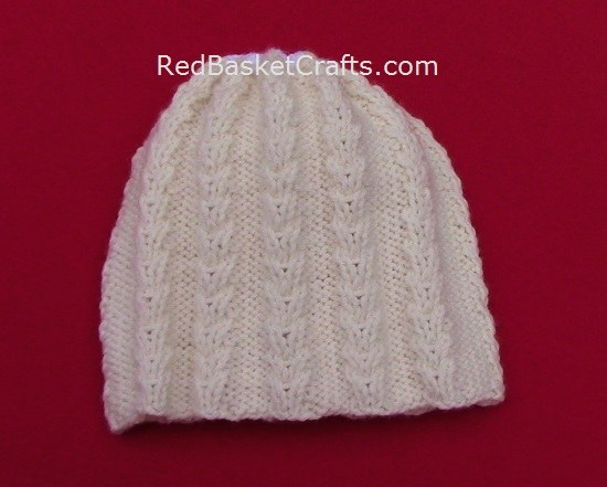 Snow Crystal Beanie Textured Hat Knitting Pattern by Red Basket Crafts