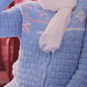 Basketweave Blue Textured Cardigan Knitting Pattern Vintage