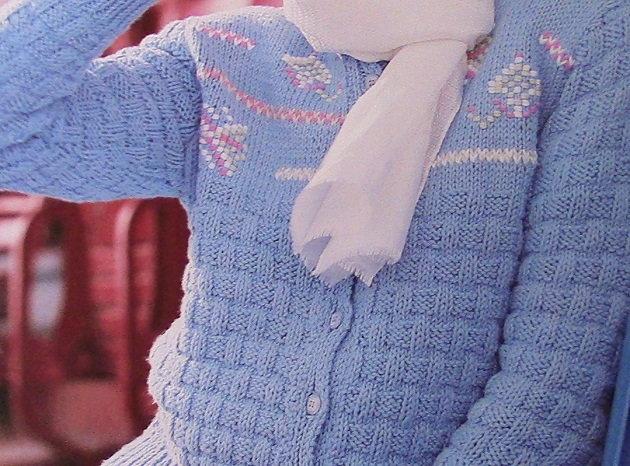 Basketweave Blue Textured Cardigan Knitting Pattern Vintage