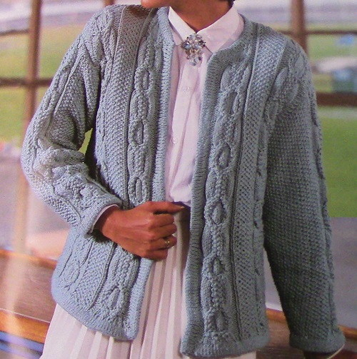 Blue Twisted Cable Cardigan Knit