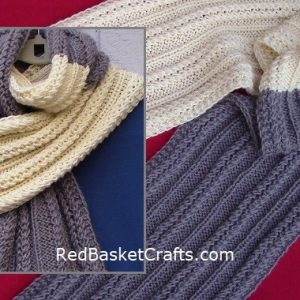 Knitted Textured Scarf Pattern by Red Basket Crafts