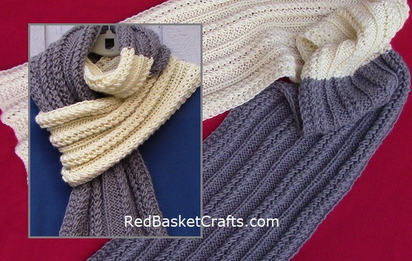 Double Twist Knitted Scarf Pattern by Red Basket Crafts