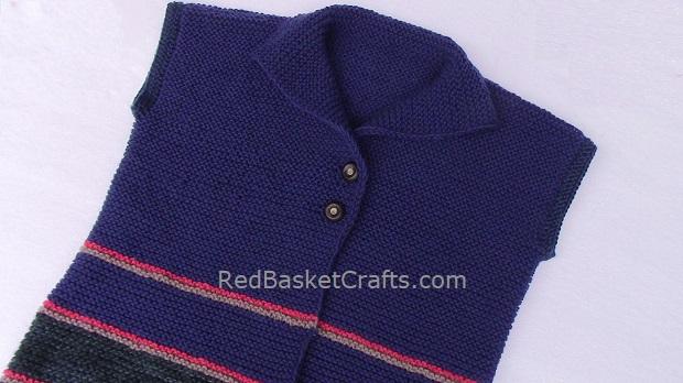 Garter Vest Easy Knitting Pattern Worsted Medium Weight Yarn