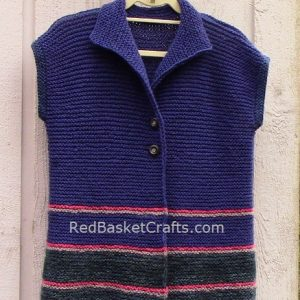 Easy Knit Vest Beginner Pattern Easy Intermediate Garter With Collar