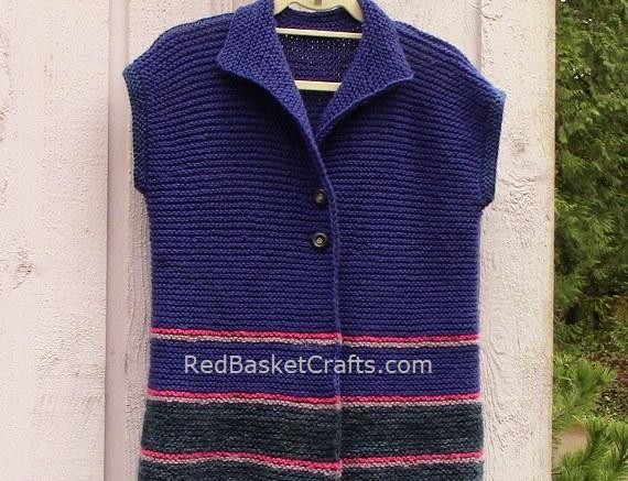 Easy Knit Vest Beginner Pattern Easy Intermediate Garter With Collar