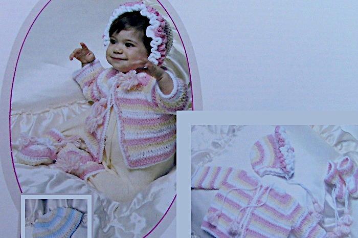 Striped Baby Set Crochet Patter Vintage