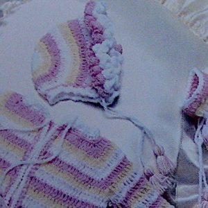 Striped Baby Set Crochet Pattern Vintage 1970s Vintage