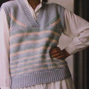 Textured Striped Vest Vintage Knitting