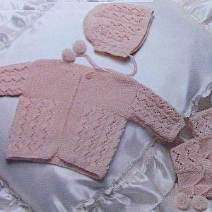 Zigzag Lace Baby Set Knitting Pattern Vintage