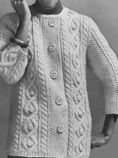 Seed Stitch Cable Cardigan - Vintage Knitting Pattern