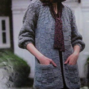 Cable Check Stitch Cardigan Knitting Pattern Cabled Yoke Bulky Yarn Intermediate