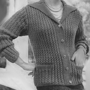 Fancy Rib Stitch Cardigan Knitting Pattern Vintage 1950s Long Sleeves Collar Sizes XS, S, M, L
