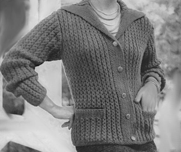 Fancy Rib Stitch Cardigan Knitting Pattern Vintage 1950s Long Sleeves Collar Sizes XS, S, M, L