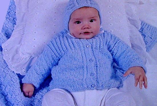 Baby Layette - Cardigan, Bonnet, Blanket, Booties - Knitting Pattern