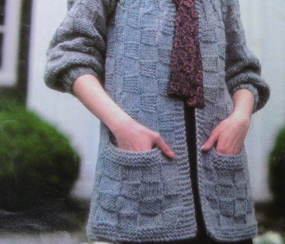 Check Stitch Cardigan With Pockets No Buttons Knitting Pattern Vintage