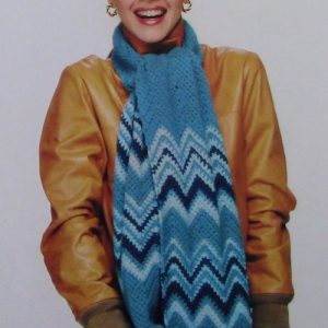 Striped Ripple Scarf Hat Easy Crochet Pattern Vintage
